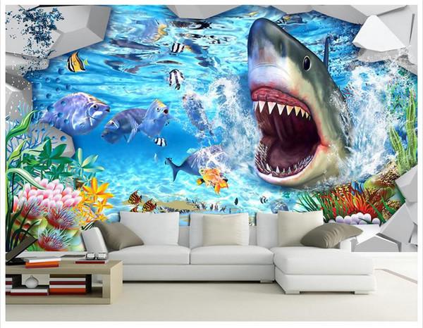 High end custom 3d wall murals wallpaper beauty Shark 3D underwater world background murals wall paper living room wall decoration