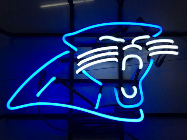 "17""x14"" Custom carolina-panthers Decor Crafts GLASS TUBE NEON LIGHT BEER BAR PUB STORE SIGN SIGNAGE"