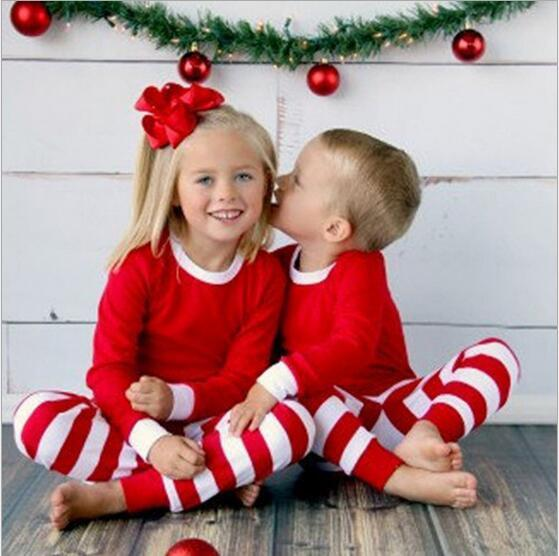 Kids Clothes Baby Christmas Pajamas Boys Xmas Stripe Nightsuits Girls Cotton T Shirts Pants Outfits Long Sleeve Tops Trousers Suits Gifts