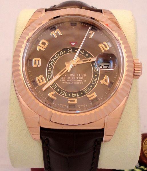 Vendedor caliente Sky-Dweller de lujo 326135 18K Rose Gold On Leather Band Reloj automático de hombre Chocolate Dial Mens WristWatches