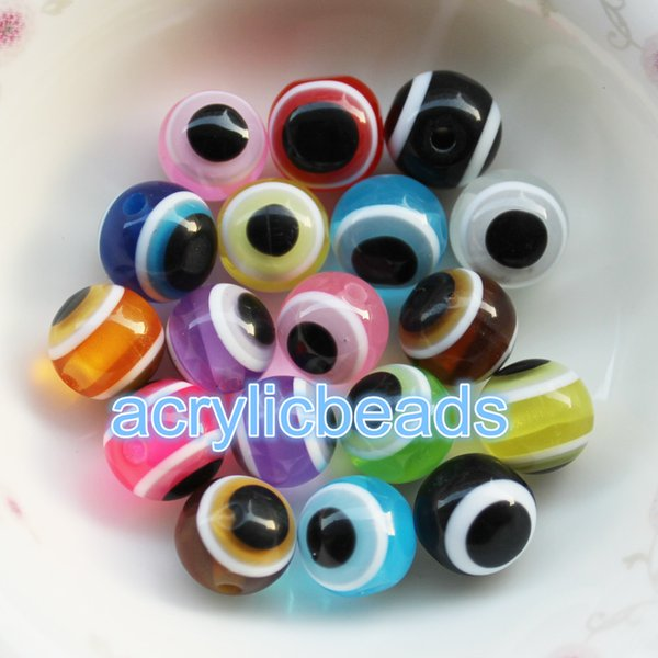 Fashion Bulk 12MM Acrylic Plastic Resin Evil Eye Striped Round Spacer Beads Finding 100pcs for Bracelets Jewelry Making Crafts Scrapbooking