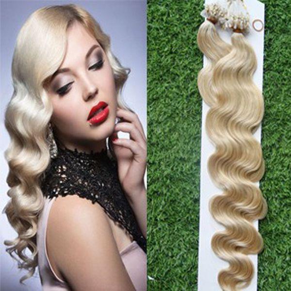 Mikroschleife schellt goldene blonde Bündel Mikroschleifen-Haar-Verlängerungen 1g 100pcs / lot brasilianische Körper-Wellen-blondes Haar-Mikroring-Haar