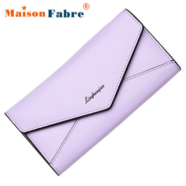 Wholesale- Women Elegant Pu Leather 3Fold Long Coin Purse Girls Clutch Wallet Female Function Purse Ladies Envelope Bag New Fashion 2017