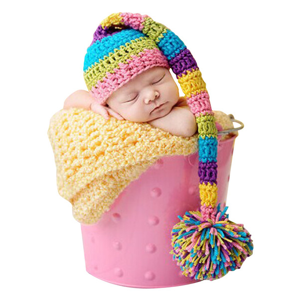New Handmade Knitting Soft Hat Long Tail Hat Baby Clothing Accessories For 0-3 Months Newborn Baby Photography Props