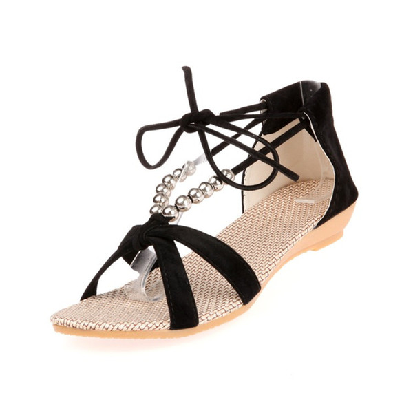 2017 Roman style missing toe beaded crossed lace sandals non-slip rubber base slope with flat shoes