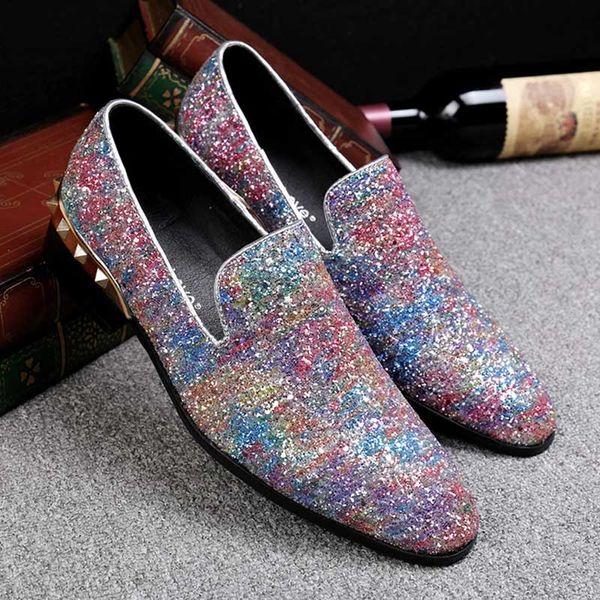 Горячо! Мужчины блеск обувь Мода повседневная квартиры дизайнер мужская платье о