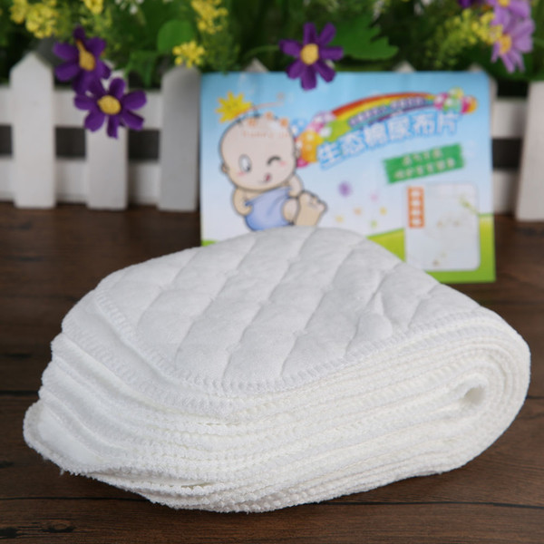 Wholesale 10PCS/Lot Reusable Baby Cloth Diaper Nappy Liner insert 3 Layers 100% Cotton Washable Baby Care Nappies