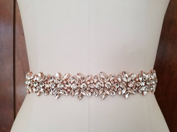 Wedding Belt Clear Crystal Rose Gold 45CM Length Rhinestones Appliques Sewing on Bridal Sashes Wedding Dresses Sashes Bridal Accessories T45