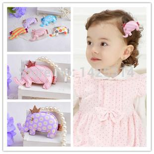 12pc! Cute little elephant pattern Baby girls hairpin Children hairpin cortical Sequins Crown Mixed Hair accessories for girl