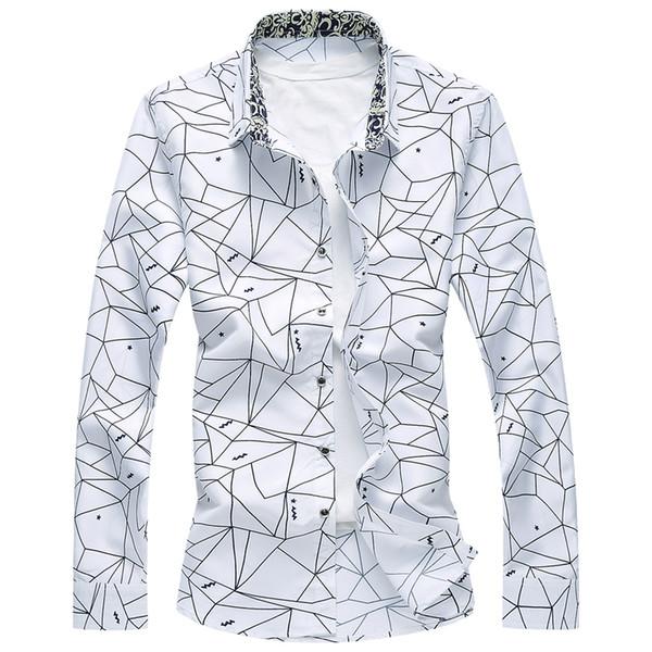Atacado-2017 Novo Designer Plus Size 7XL Primavera Homens Camisa de Alta Qualidade Clássico Formal Geométrica Xadrez Camisas de Vestido de Manga Longa Mens