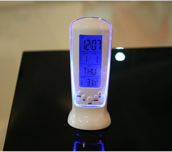 Yaratıcı Moda LED Aydınlık Müzik Zamanlama Mavi Işık Sıcaklık Göstergesi 510 Çalar Saat Kalıcı Takvim Elektronik Saatler 8zb R