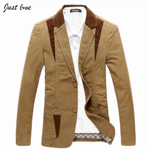 Wholesale- Men Cotton Casual Blazer New Men's Plus Size M-6XL Business Casual Jacket Coat Male Fashion Solid Color Men's Cardigan Jacket