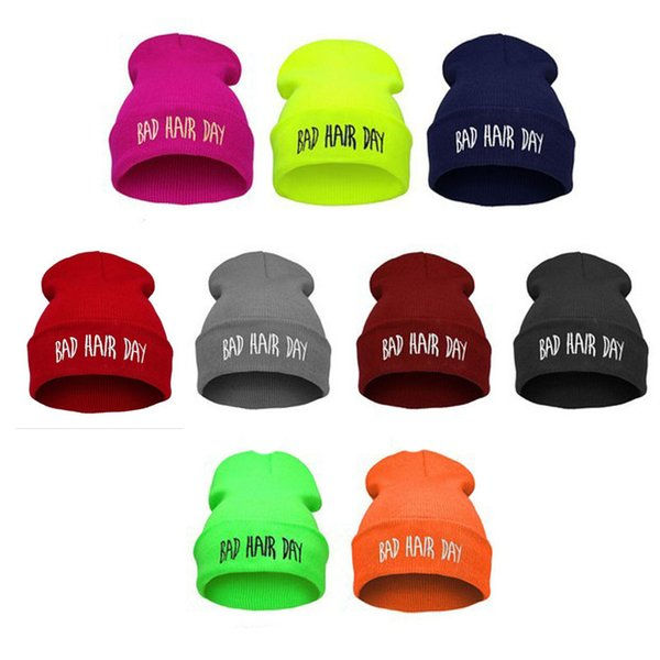 Free shipping Bad Hair Day Beanie hat Warm Winter hiphop caps Knitted hats for women men Fashion Accessories