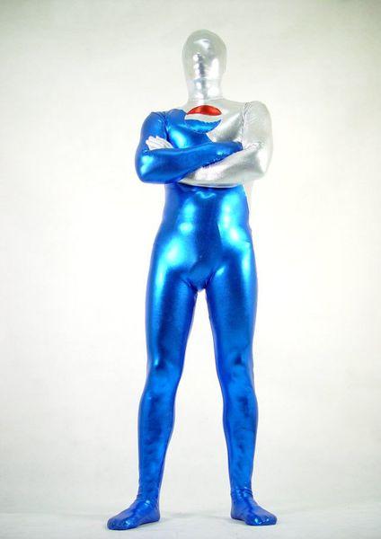 Weiß Blau Metallic Superheld Cola Krieger Halloween Cosplay Party Zentai Anzug
