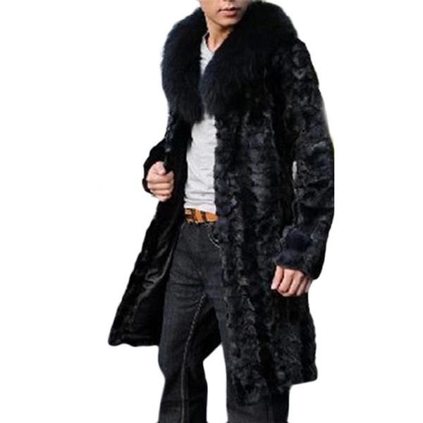 Wholesale- Men Long Black Faux Fur Coat Pelliccia Slim Shaggy Trench Windbreaker Winter Fur Jackets Mex Jaqueta Masculina Chaqueta Hombre