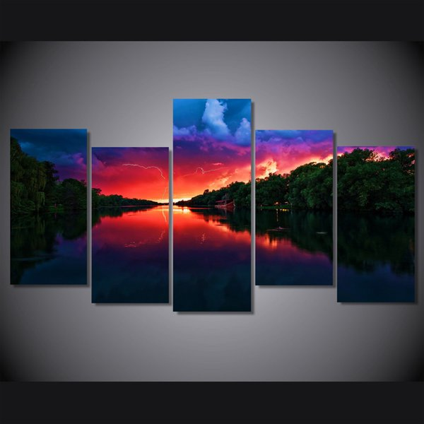 5 Pcs/Set Framed HD Printed Amazing Red Sky Lake Picture Wall Art Canvas Print Room Decor Poster Canvas Painting Wall