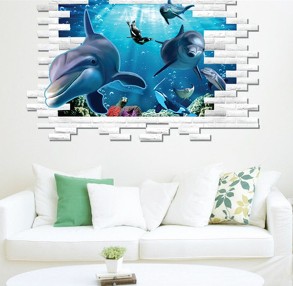 Wonderful 3D Dolphin Wall Mural Vinyl Decal Removable Wall Sticker Art Room Decor Part 25