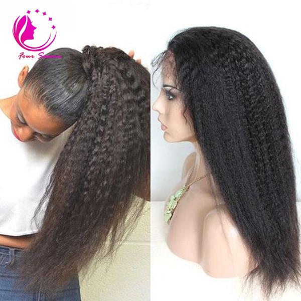 Işlenmemiş bakire yüksek at kuyruğu tam dantel peruk Brezilyalı Kinky Düz Kaba Yaki İnsan Saç Siyah Kadınlar için Tam Dantel Peruk
