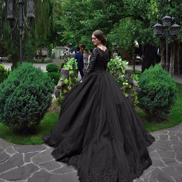 Long Sleeve Ball Gown Black Gothic Wedding Dresses 2016 Victorian ...