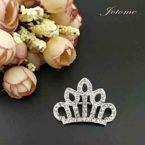 100pcs/ 36mm Mini Crown Brooch Pin Silver Tone Clear Rhinestone Crystal Brooches Elegant Wedding Party Pins