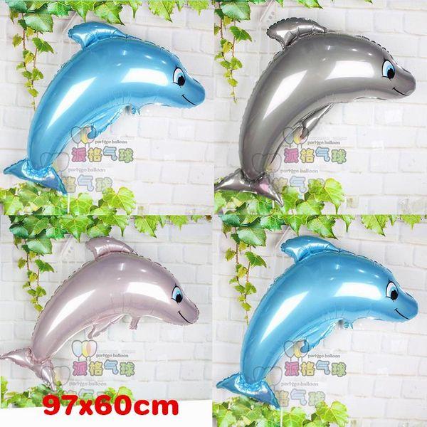 50pcs Dolphin Balloons Compleanno decorazione della festa nuziale grande animale Palloncini di pesce festa di compleanno bambini palloncino palle gonfiaggio