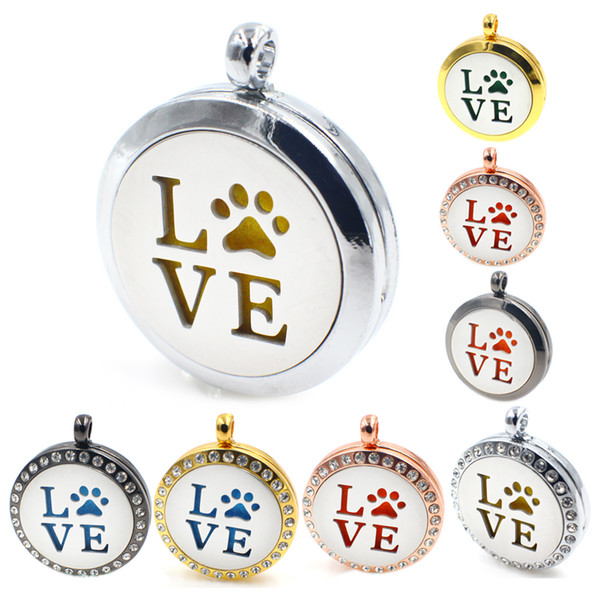 Love with paw silver/gold/rose gold 30mm Aromatherapy Perfume Essential Diffuser Locket Floating locket As Gifts (free necklace & pad ) XX10