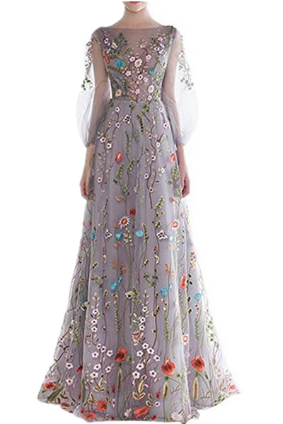3/4 Long Sleeve 2019 New Colorful Women's Long Sleeve Evening Dresses Floral Embroidered Formal Pageant Gowns Hot Summer Special Occasion