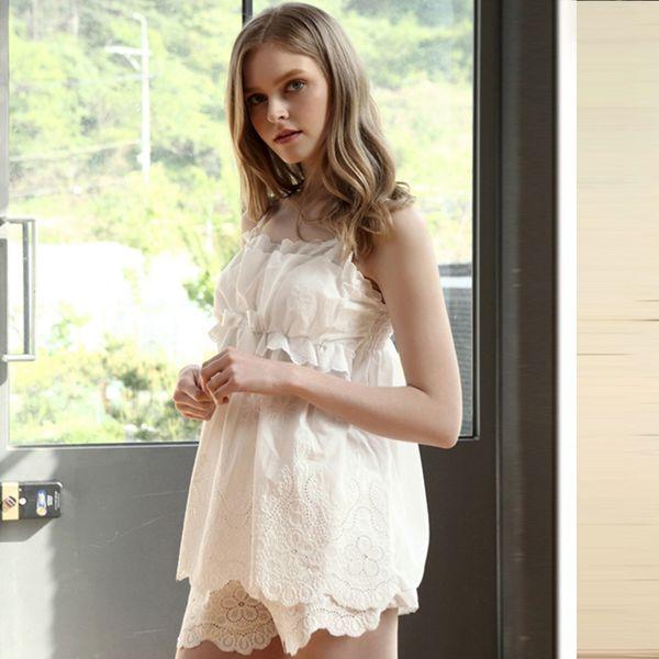 Toptan-Pamuk Prenses Kızlar Pijama setleri Sevimli Kadınlar Salonu Pijama Yaz Kolsuz Pijama Cup Ile Homewear Yastıklı Ücretsiz Kargo
