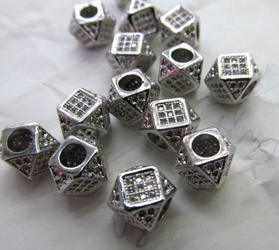 Large Hole--12pcs 8mm Micro Pave Diamond Connector Drum Barrel Hexagon Gunemtal White Silver Spacer Beads Findings