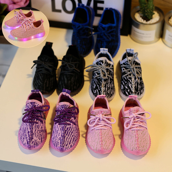 best selling 2017 Eur21-25 Children Casual Shoes With Light Led Enfant Sneaker Girls Tenis Sports Breathable Boys Light Baby Shoes Kids