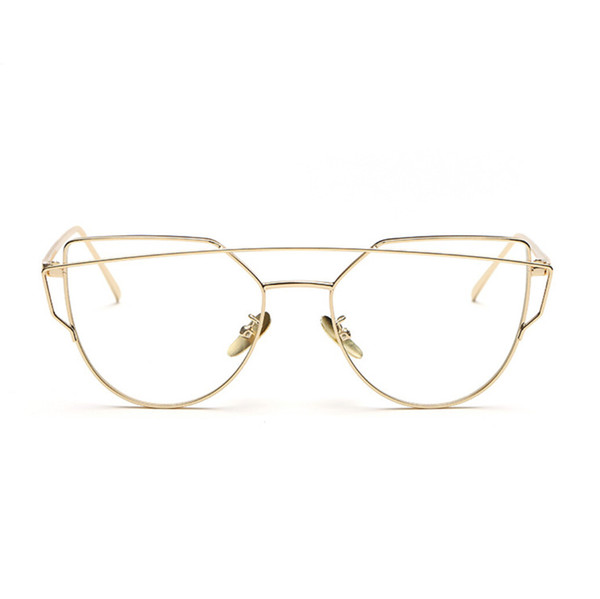 db68f62fe5c Wholesale- High Quality Retro Gold Glasses Frames Rimmed Clear Glasses  Optical Lenses Woman Transparent Lens Female Grade Eyeglass Frame