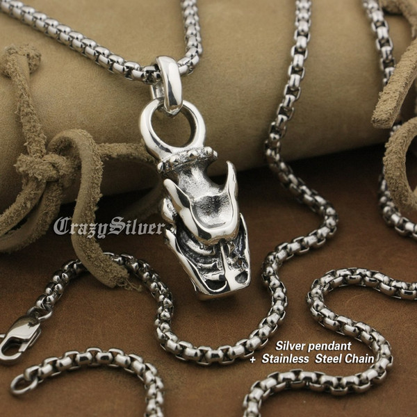 LINSION 925 Sterling Silver Dragon Pendant Mens Biker Rock Punk Style 8A044 Stainless Steel Necklace 24 inches