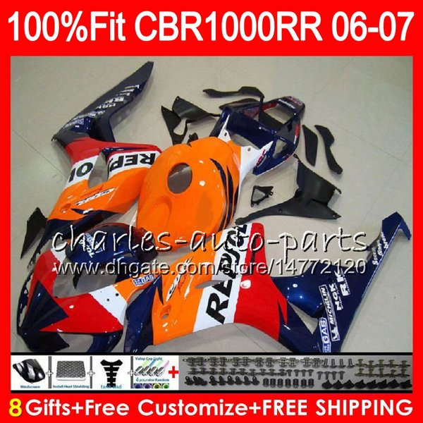 Injection Body For HONDA CBR 1000RR Repsol blue CBR1000 RR 06 07 Bodywork 78HM5 CBR1000RR 06 07 CBR 1000 RR 2006 2007 Fairing kit 100% Fit