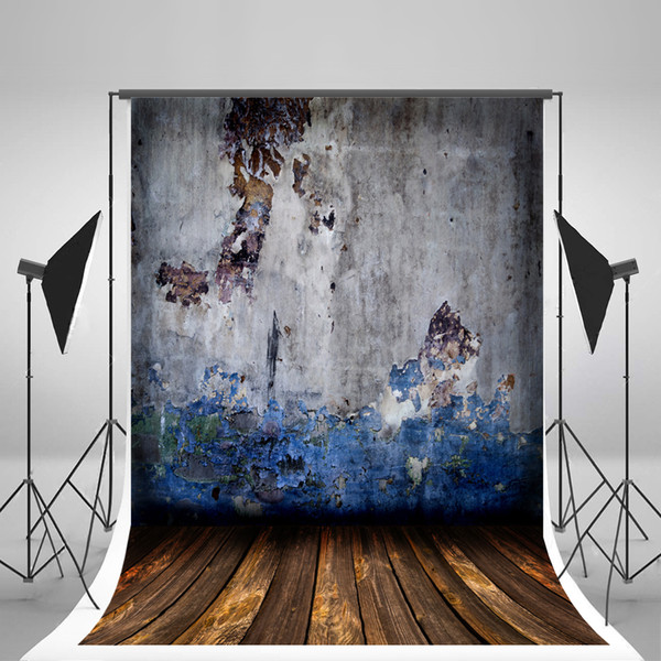 Seamless Broken Painted Paint Wall Photography Backgrounds Brown Wood Floor Photo Backdrop for Wedding Wrinkles Free