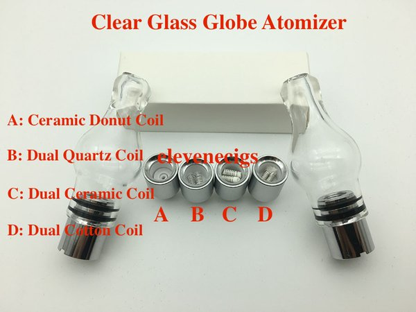 Nuovo Glass Globe Atomizzatore in vetro pyrex serbatoio Cera erba secca vape e-sigaretta bobina Singl Sostituzione bobina in ceramica per batteria EGo-T