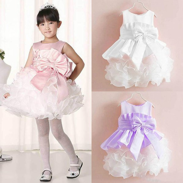 Summer Baby Clothes Kids Girls Tutu Princess Dress Children Girls Show White Lace Party Bow Dresses For Girls Wedding Dress