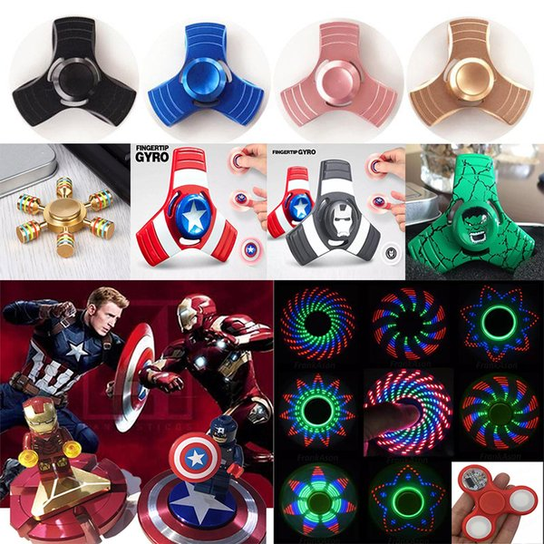 Fidget Spinners Toy Spinner mano in lega d'oro 5Color metallo Multi Style Bearing CNC EDC Finger Tip rotazione ansia Hand Spinners Giocattoli