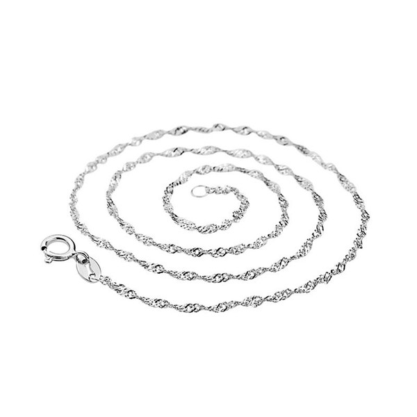 minmum order 1 piece high quality white rhodium plated real 925 sterling silver water wave chain 18 inch 16 inch silver chain