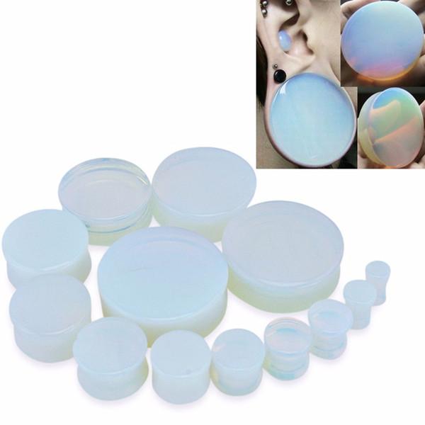 1 Par Semi Precioso Opalite Piedra Blanca Redonda Doble Flare Tapón Del Oído Túnel de la Carne Gauge Expanders Punk Body Jewelry 5-25mm