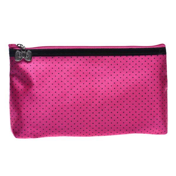 Wholesale- New brand Cosmetic Cases 2017 fashion women Round Dot Portable Storage Makeup toiletry bag Rose Pink Beige Black bolsa feminina