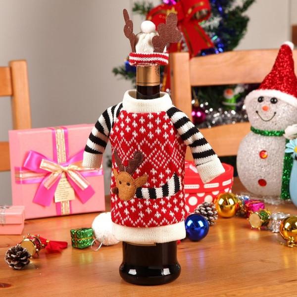 Wholesale- 1Set maglione carino copertura della bottiglia di vino rosso borse renna cena decorazione della tavola vestiti con cappelli capodanno decorazioni natalizie