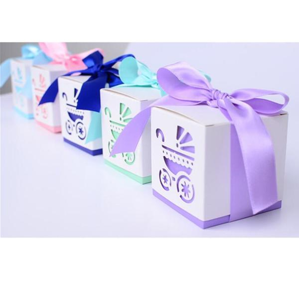 100PC/Lot Square Baby shower Party favour Gift Candy Boxes in Laser Cut Baby Carriage Design Colors for Baby girl and boy