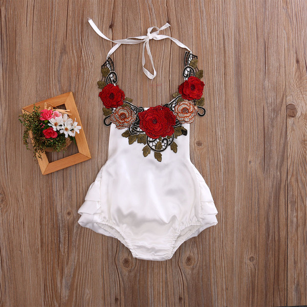 2017 Summer Infant Baby Girl Rompers Retro Style Embroidery Flowers Halter Overalls Jumpsuit Toddlers Babies Climb Clothes White Red 3212
