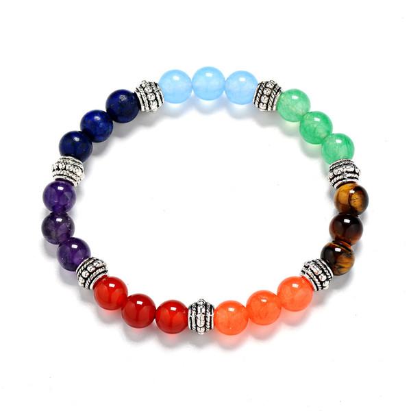 4 Farbe Naturstein Amethyst 7 Chakra Achat Tiger Stein Perlenarmband sieben Farbe 8mm runden Perle Regenbogen 7 Chakra Armband