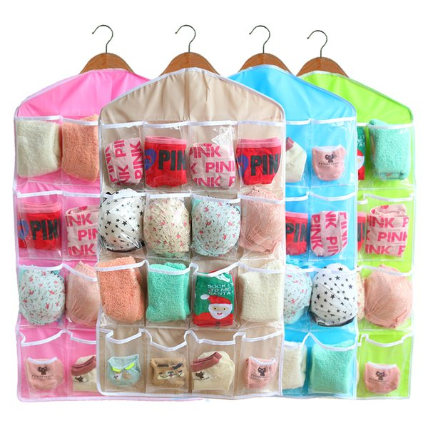 Multifunction Clear 16 Pockets Socks Shoe Toy Underwear Sorting Storage Bag  Door Wall Hanging Closet Organizer