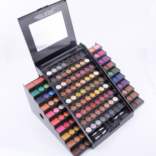 Wholesale- Miss Rose full professional  kit 130 colors matte shimmer glitter eyeshadow palette in safe packaging with box MS041