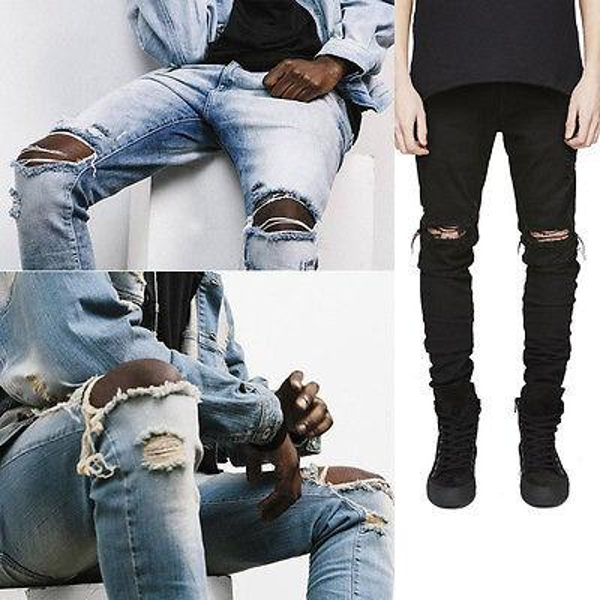 top popular Wholesale- Fashion Men Straight Slim Pants Denim Jean Pants Ripped Skinny Trousers New Men's Jeans Clothes 2019