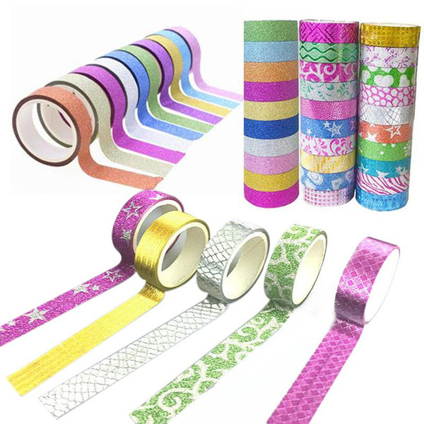 best selling Wholesale- 2016 10PCS 1.5cmx3m Washi Tape Adhesive Tape Glitter Pattern Tape Self Adhesive Decorative Sticker Rolls Decor