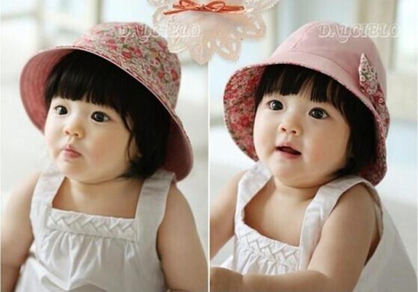 Chapeau de soleil bi-face pour bébé bowknot Floral Infant Pur Coton Fleur Soleil Casque Soleil Enfants Chapeaux Toddle Sunbonnet Bébé Filles Chapeaux Navire Libre