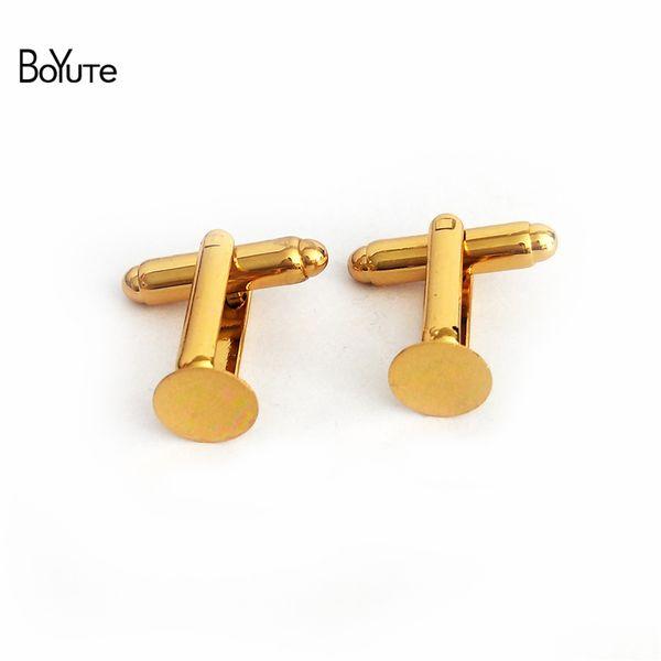 top popular BoYuTe 40Pcs 2 Colors 6MM 8MM 10MM 12MM Round Cabochon Base Setting Flat Glue Pad Cufflinks Blank Bezel Tray Diy Jewelry Accessories 2021